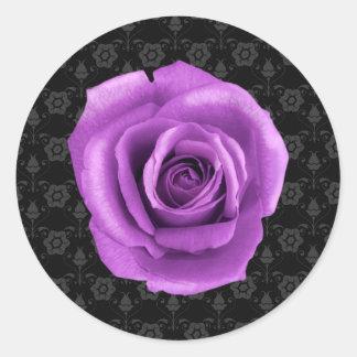Elegant Damask and Purple Rose Sticker