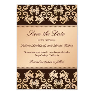 Elegant Damask Autumn Reverie Wedding Save Date 13 Cm X 18 Cm Invitation Card