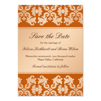 Elegant Damask Autumn Reverie Wedding Save Date Card