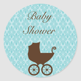 Elegant damask baby carriage shower stickers