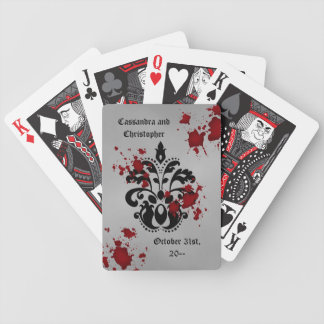 Elegant damask black and gray Halloween wedding Bicycle Playing Cards