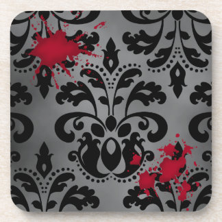 Elegant damask black and gray with blood Halloween Coaster