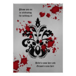Elegant damask black and grey Halloween wedding Personalised Announcement