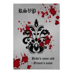 Elegant damask black grey Halloween rsvp wedding Personalised Announcements