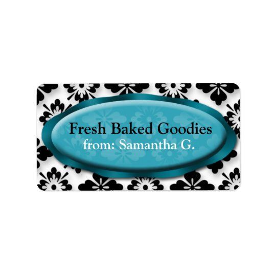 Elegant Damask Blue Baking Labels
