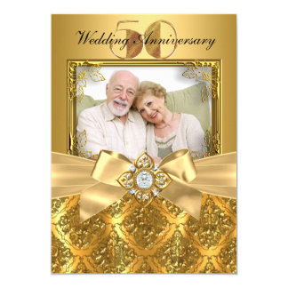 Elegant Damask & Bow Photo Gold 50th Anniversary Card