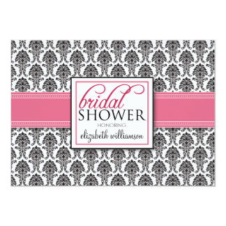 Elegant Damask Bridal Shower Invitation (rose)