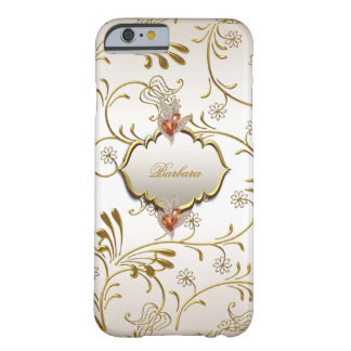 Elegant Damask Caramel Cream Beige Gold Amber Barely There iPhone 6 Case