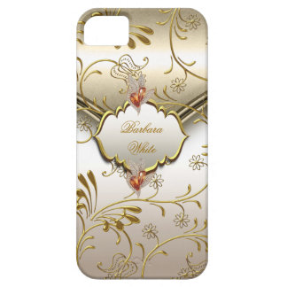 Elegant Damask Caramel Cream Beige Gold Amber Case For The iPhone 5