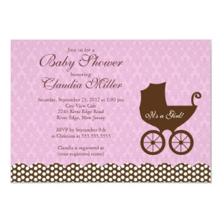 Elegant Damask Carriage Girl Baby Shower 13 Cm X 18 Cm Invitation Card