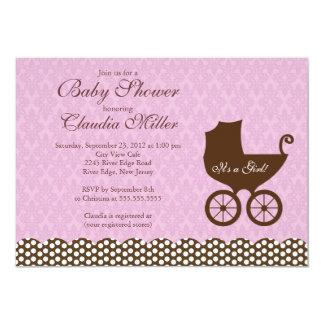 Elegant Damask Carriage Girl Baby Shower Card