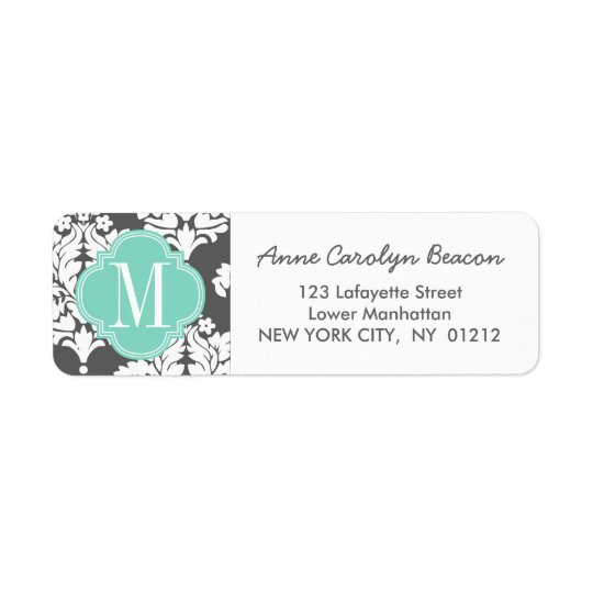 Elegant Damask Charcoal & Aqua Custom Monogrammed Return Address Label
