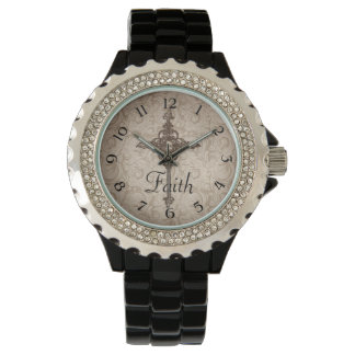 Elegant Damask Christian Cross Wristwatches