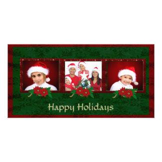 Elegant Damask Christmas Photo Card