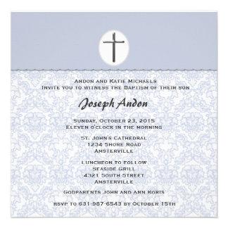 Elegant Damask Collection Blue Invitation