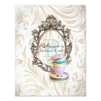 elegant damask cupcake vintage birthday party 11 cm x 14 cm invitation card