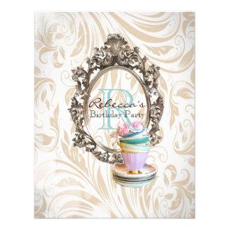 elegant damask cupcake vintage birthday party custom invite