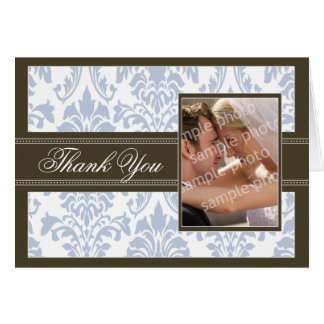 Elegant Damask Custom Thank You Card (ice/brown)