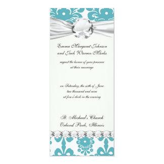 elegant damask design with aqua blue card