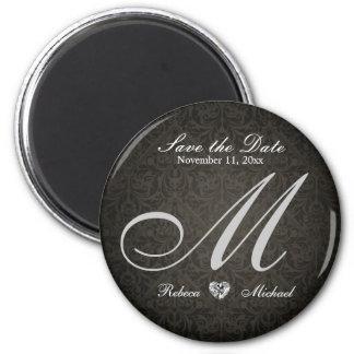 Elegant Damask Diamond Monogram Save the Date 6 Cm Round Magnet