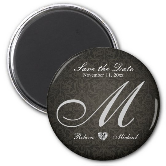 Elegant Damask Diamond Monogram Save the Date Magnet