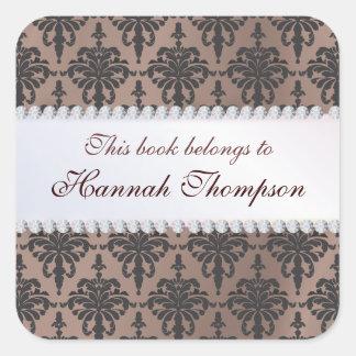 Elegant Damask Ex Libris Book Label