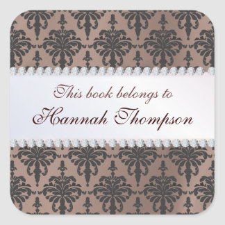 Elegant Damask Ex Libris Book Label Square Sticker