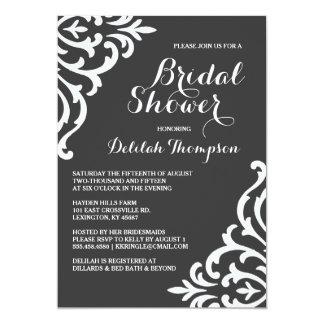 "Elegant Damask Filigree Bridal Shower Invitation 5"" X 7"" Invitation Card"
