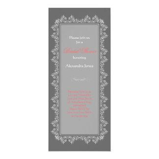 Elegant Damask Filigree Bridal Shower Party 6 10 Cm X 24 Cm Invitation Card