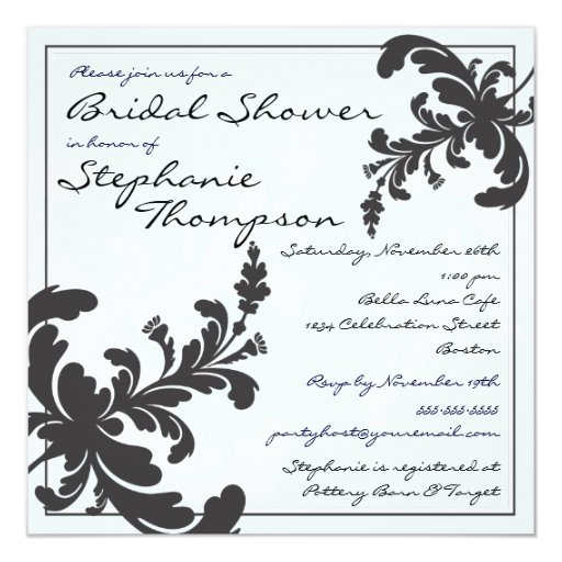 """Elegant Damask Floral Bridal Shower Invitation 5.25"""" Square Invitation Card"""