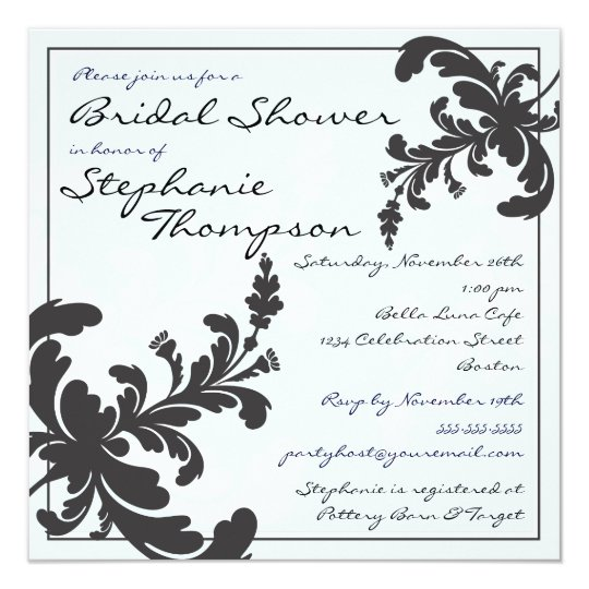 Elegant Damask Floral Bridal Shower Invitation