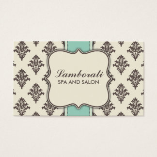 Elegant Damask Floral Modern Brown Beige and Green Business Card