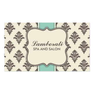 Elegant Damask Floral Modern Brown Beige and Green Business Card Template