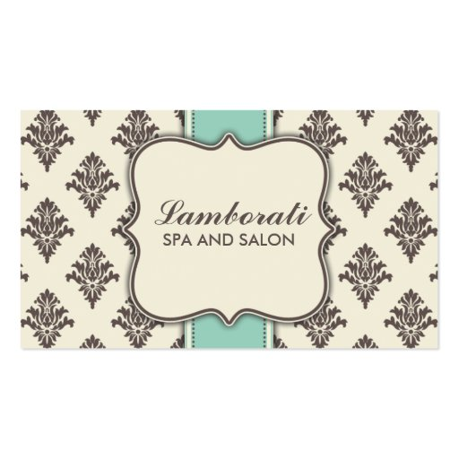 Elegant Damask Floral Modern Brown Beige and Green Business Card Template
