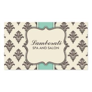 Elegant Damask Floral Modern Brown Beige and Green Pack Of Standard Business Cards