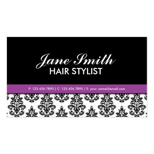 Elegant Damask Floral Pattern Stylist Salon Business Card Template