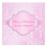 Elegant Damask Floral Swirl Pink Baby Shower Personalized Invitations
