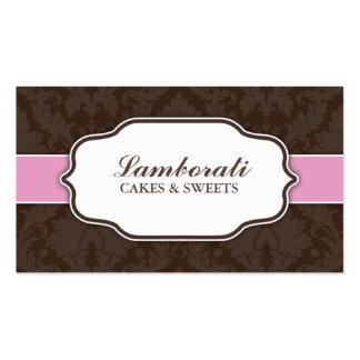 Elegant Damask Flower Floral Modern Pink and Brown Pack Of Standard Business Cards
