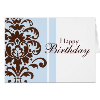 Elegant Damask for Happy Birthday - Customised Card