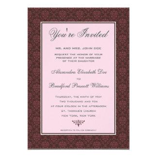 Elegant Damask Formal Wedding Invitation raspberry