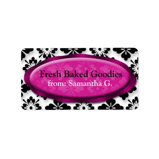 Elegant Damask Fuchsia Baking Labels