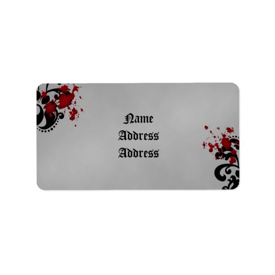 Elegant damask gothic Halloween theme wedding Address Label