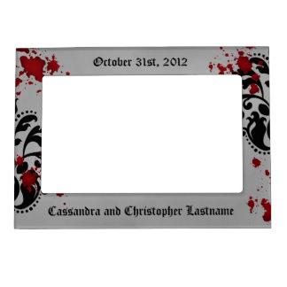 Elegant damask gothic Halloween wedding souvenir Magnetic Photo Frames