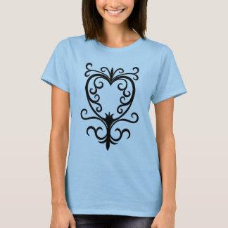 Elegant damask gothic scrollwork heart T-Shirt