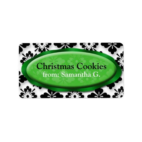 Elegant Damask Green Christmas Cookies Labels