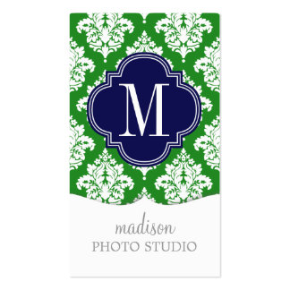 Elegant Damask Green & Navy Custom Monogrammed Pack Of Standard Business Cards