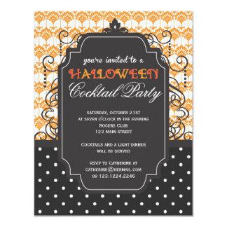 Elegant Damask Halloween Cocktail Party Card