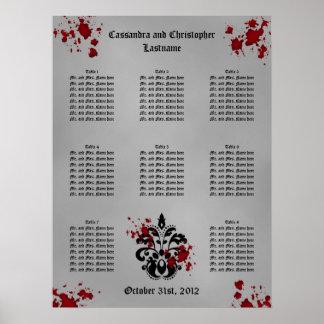 Elegant damask Halloween wedding seating chart Poster