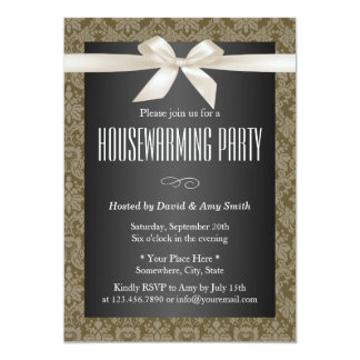 Elegant Damask Ivory Ribbon Housewarming Party 13 Cm X 18 Cm Invitation Card
