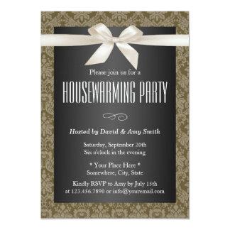Elegant Damask Ivory Ribbon Housewarming Party Card